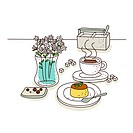 Cake and tea with flower pot