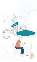 Illustration of man sitting outside of restaurant