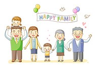 Illustration of happy family standing together