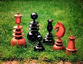 Wooden Chess set for the Garden