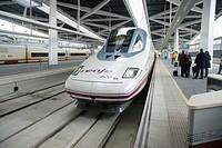 Spanish high speed train AVE Madrid-Valencia. Joaquin Sorolla Station. Valencia. Spain.
