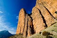 Climbers at Mallos de Riglos, Huesca, Aragon Spain