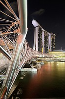 The Helix bridge and the Marina Bay Sand Hotel, Singapore
