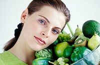 Woman fruits vegetables