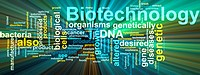 Biotechnology word cloud glowing