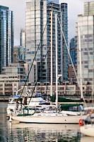 sailboat in a marina on False Creek, Vancouver, BC, Canada