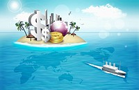 The money, building, and globe on the island with the world map and ship around