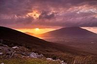 Sunset over Achill Island, County Mayo, Ireland.