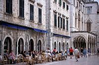 Street cafe, Plaza, Dubrovnik, Dalmatia, Croatia