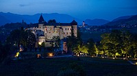 View of Proesels castle in the evening, Voels am Schlern, South Tyrol, Alto Adige, Italy, Europe