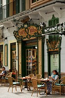 Forn des Teatre, people in front of a cafe, Palma de Mallorca, Mallorca, Balearic Islands, Spain, Europe