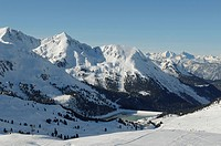 Romantic picture of snowy moutains in Austria