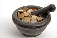 coins in a mortar