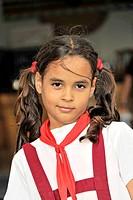 Cuban school girl, Cienfuegos, Cuba, Greater Antilles, Caribbean, Central America, America