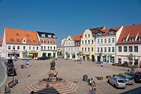 Market square with fountain in Wurzen, Muldental district, Saxony, Germany, Europe