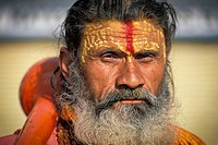 Man dressed the mythical monkey god Hanuman with a club, epic of Ramayana, Khajuraho, Madhya Pradesh, India, Asia