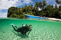 Island, Islands, Beach, Sun, Landscape, Scenery, Coast, Ocean, Lagoon, Panorama, View, Sight, Split, Water Surface, shallow, Scuba diver, scuba, diver...