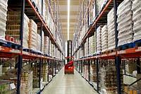Forklifts, Pallet warehouse, Packaging canned vegetables, Canning Industry, Agri-food, Logistics Center, Grupo Riberebro, Alfaro, La Rioja, Spain