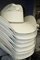 White cowboy hats on sales display in western outfit shopping center
