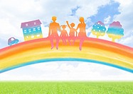 Family sitting on the rainbow