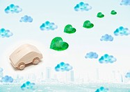 Image of eco car with hearts coming out of the exhaust