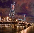 Night view of the Steel Bridge in Portland, Oregon