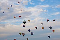 hot air balloons in flight, st. jean sur richelieu, quebec, canada