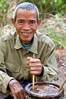 Cambodia, Ratanakiri Province, near Banlung Ban Lung, Koh Piek village of Kachac ethnic group, drinking rice alcohol