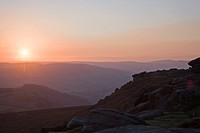 sunset over the landscape of peak district national park, derbyshire england