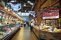 Canada, British Columbia, Vancouver, entrance of public biologic market of renovat district on Granville island