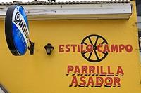 Argentina, Patagonia, Santa Cruz province, El Calafate, sign of a restaurant