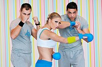 young adults group in fitness club