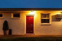 Motel room at night