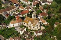 France, Val d´Oise, Epiais Rhus, the church Notre Dame de l´Assomption from the 16th century in the village aerial view