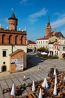 Poland, Lesser Poland region, Tarnow, market square Rynek, the town hall and in the background the cathedral, seen from U Jana Hotel