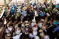 France, French Polynesia, Society Archipelago, Windward Islands, Tahiti, Papeete, Sunday mass in Paofai Temple