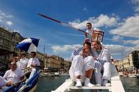 France, Herault, Sete, canal Royal Royal Canal, Fete de la Saint Louis St Louis´s feast, sea jousting