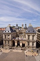 France, Rhone, Lyon, historical site listed as World Heritage by UNESCO, the main courtyard of the Town Hall and Notre Dame de Fourviere Basilica seen...