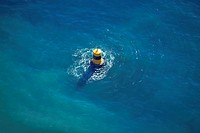 France, Var, Sanary sur Mer, beacon in the sea aerial view