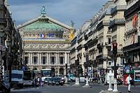 France, Paris, Garnier opera at the end of opera Avenue