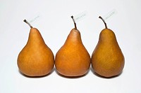 Organic Produce, still-life of three brown pears