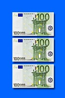Three 100 Euro banknotes
