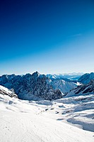 Zugspitze ski area in the Alps, Bavaria, Germany, Europe