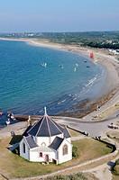 France, Morbihan, Sarzeau, Penvins point and Notre Dame de la Cte chapel aerial view