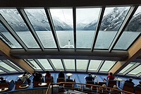 Norway, Trollfjord boat, shipping company Hurtigruten which assures since 1893 the connections between the big cities of the Norwegian coast, daily de...