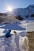 France, Savoie, Sainte Foy Tarentaise, the hamlet of high mountain pasture of Monal with view on Mont Pourri 3779m in the Parc National de la Vanoise