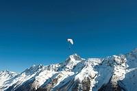 Aerial view, Bietschhorn Mountain in winter, Loetschental valley, UNESCO World Heritage Site, Jungfrau-Aletsch-Bietschhorn Mountains, Valais, Switzerl...