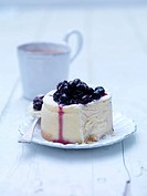 Blackcurrant Cheesecake with a cup of tea