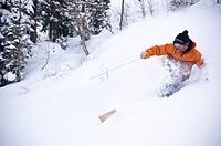 Skier spraying snow on slope