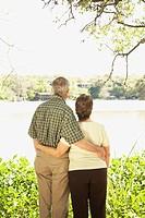 Rear view of senior Hispanic couple hugging outdoors